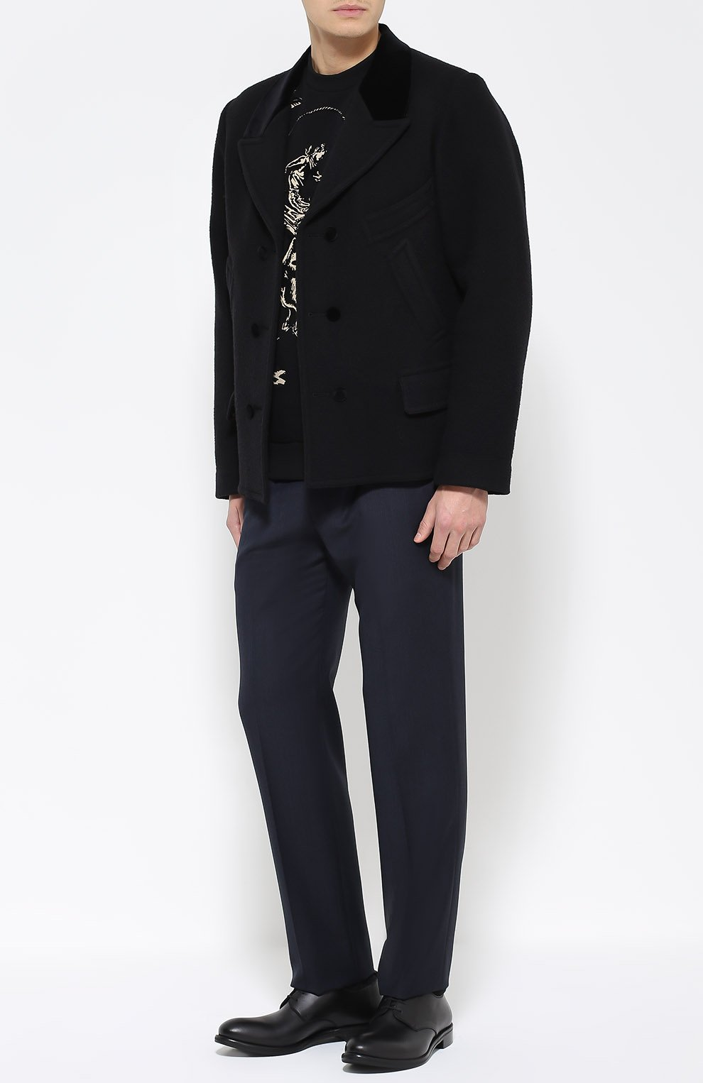 Шерстяное укороченное пальто с остроконечными лацканами   Фото №2