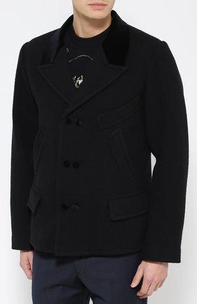 Шерстяное укороченное пальто с остроконечными лацканами   Фото №3