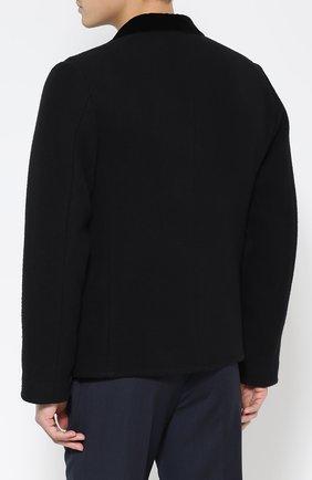Шерстяное укороченное пальто с остроконечными лацканами   Фото №4