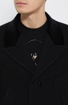Шерстяное укороченное пальто с остроконечными лацканами   Фото №5