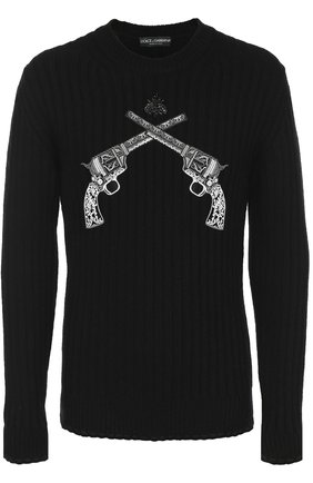 Шерстяной джемпер фактурной вязки с нашивками Dolce & Gabbana черный   Фото №1