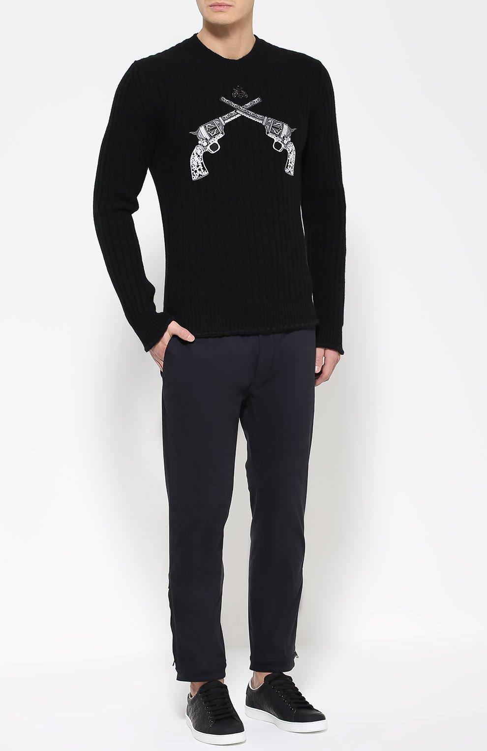 Шерстяной джемпер фактурной вязки с нашивками Dolce & Gabbana черный   Фото №2