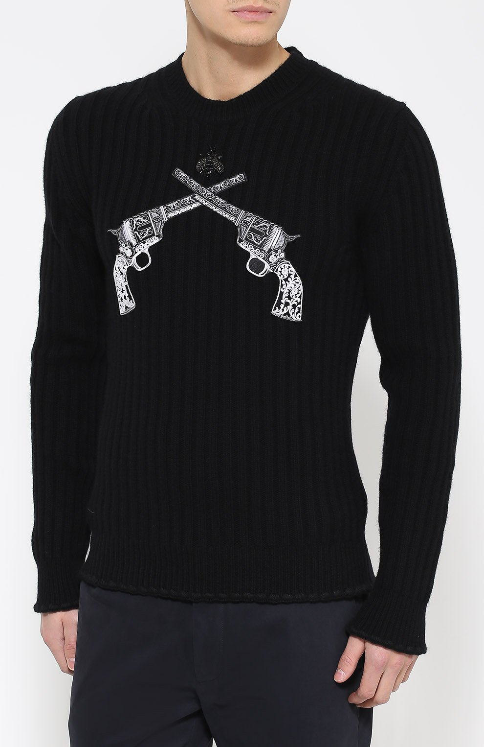 Шерстяной джемпер фактурной вязки с нашивками Dolce & Gabbana черный   Фото №3