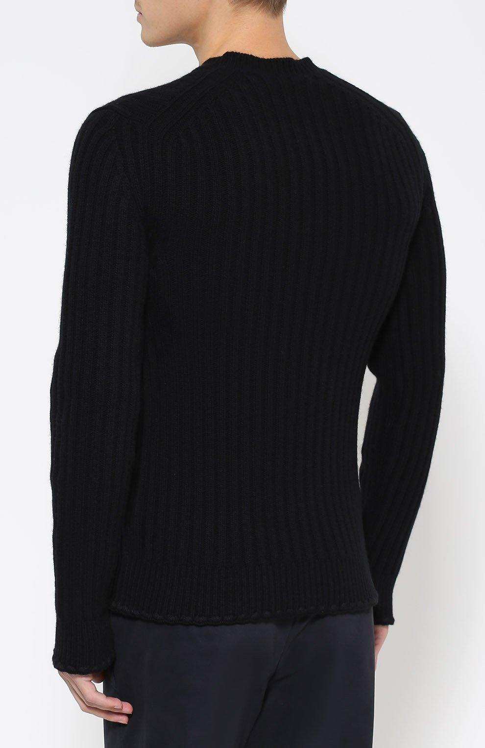 Шерстяной джемпер фактурной вязки с нашивками Dolce & Gabbana черный   Фото №4