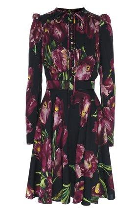 Шелковое платье с рукавом-фонарик и поясом Dolce & Gabbana бордовое | Фото №1