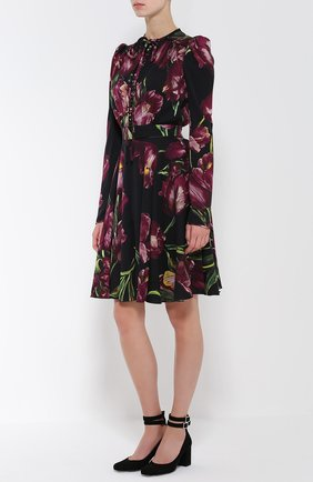 Шелковое платье с рукавом-фонарик и поясом Dolce & Gabbana бордовое | Фото №2