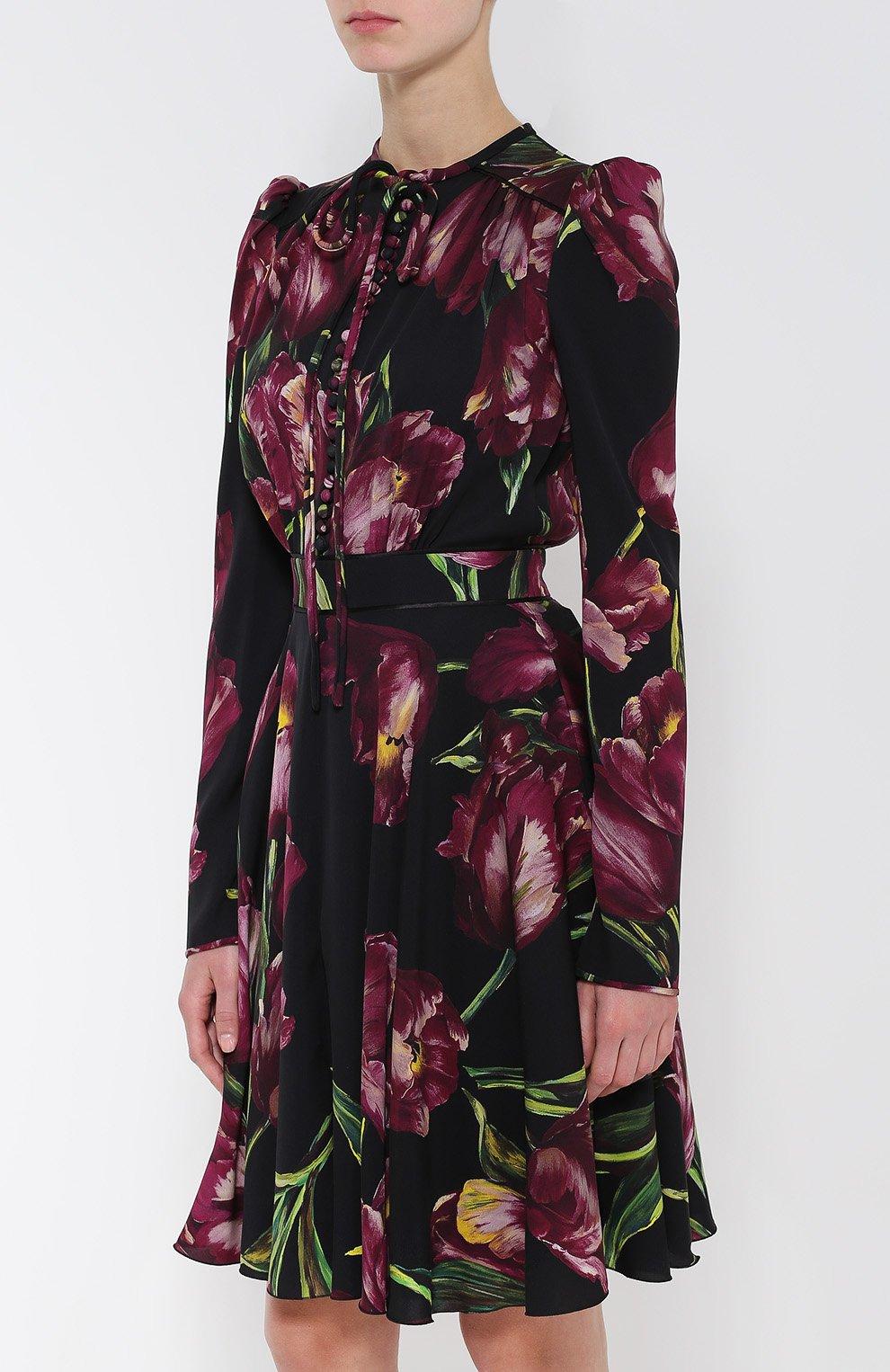 Шелковое платье с рукавом-фонарик и поясом Dolce & Gabbana бордовое | Фото №3
