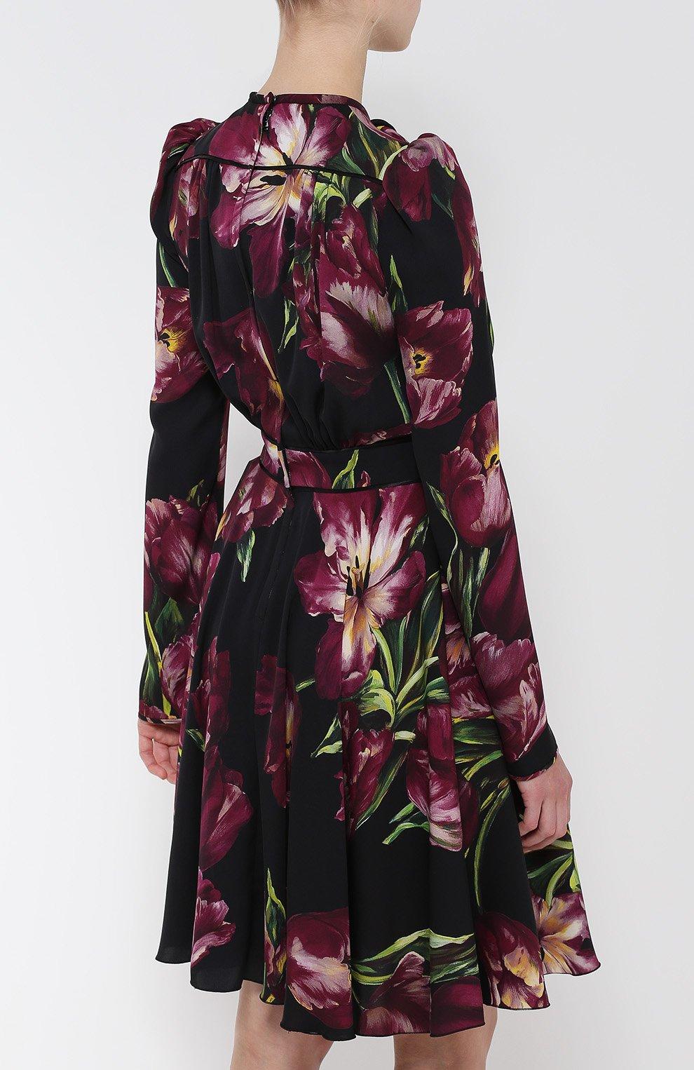 Шелковое платье с рукавом-фонарик и поясом Dolce & Gabbana бордовое | Фото №4