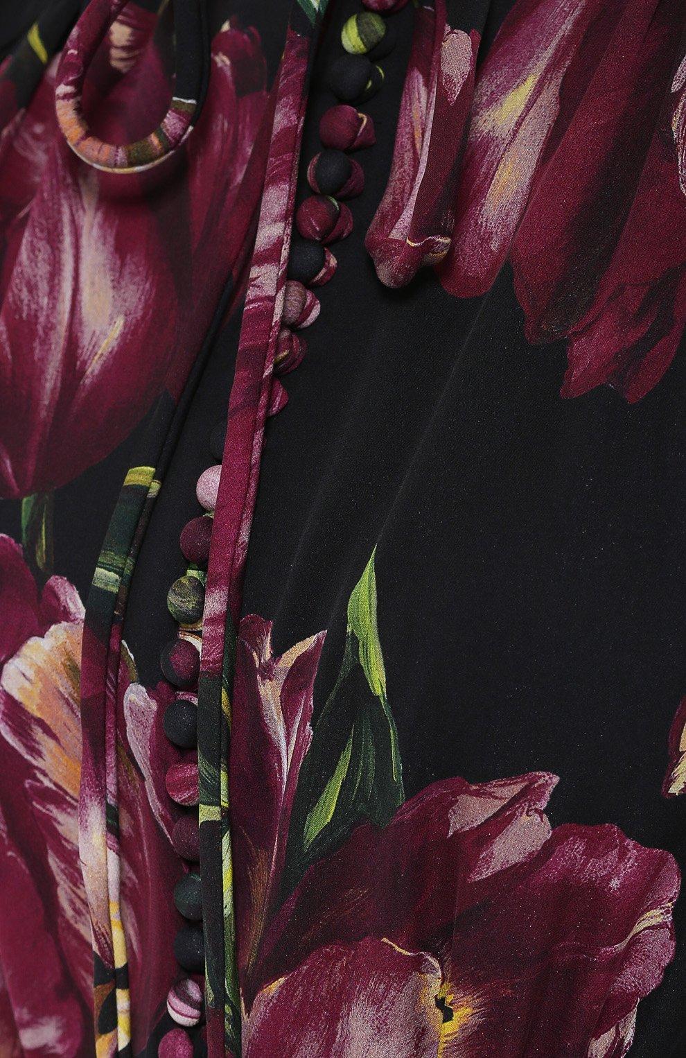 Шелковое платье с рукавом-фонарик и поясом Dolce & Gabbana бордовое | Фото №5