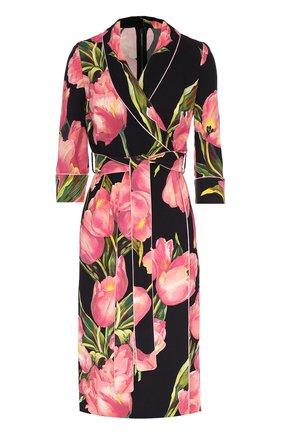 Платье с запахом и цветочным принтом Dolce & Gabbana розовое | Фото №1