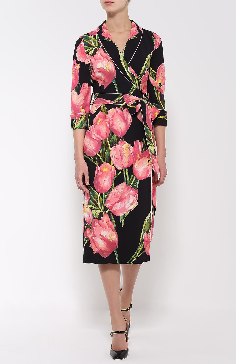 Платье с запахом и цветочным принтом Dolce & Gabbana розовое | Фото №2