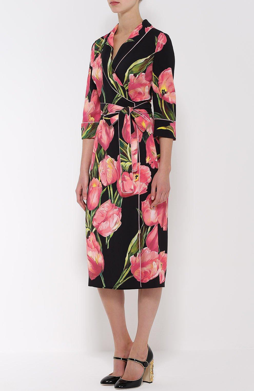 Платье с запахом и цветочным принтом Dolce & Gabbana розовое | Фото №3