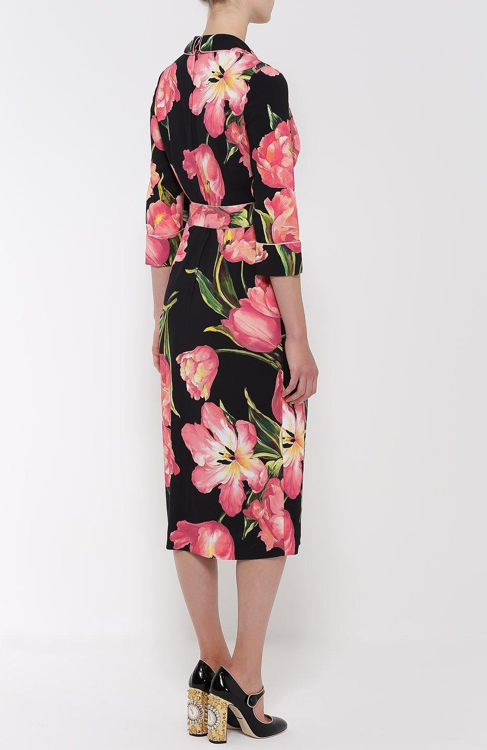 Платье с запахом и цветочным принтом Dolce & Gabbana розовое | Фото №4