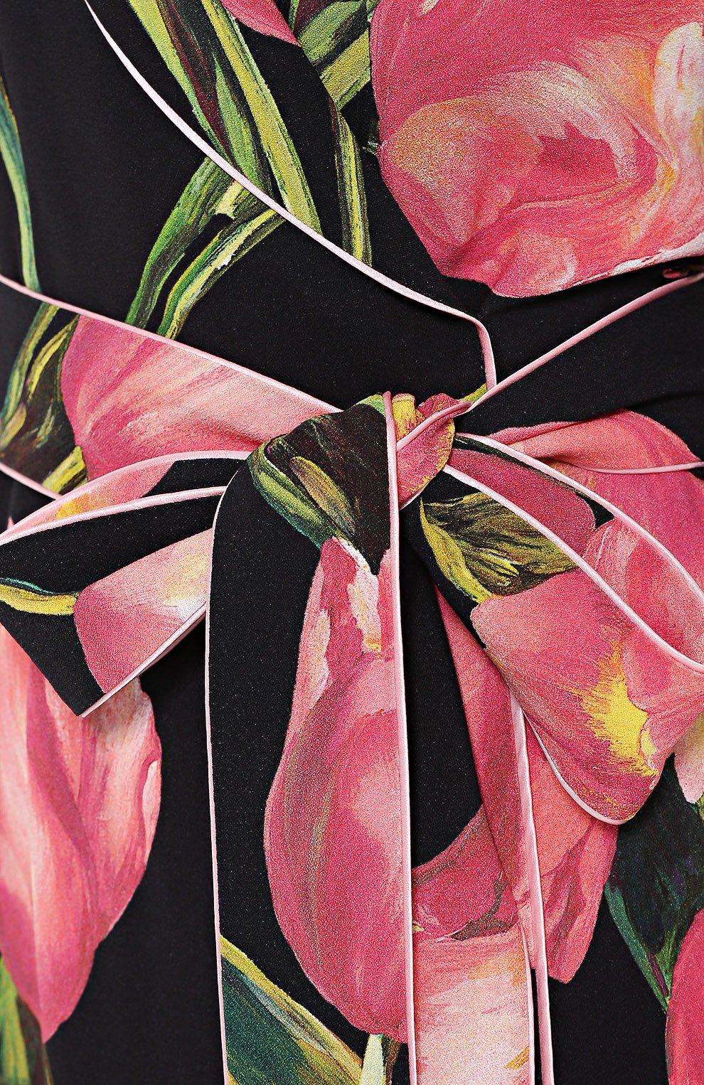 Платье с запахом и цветочным принтом Dolce & Gabbana розовое | Фото №5