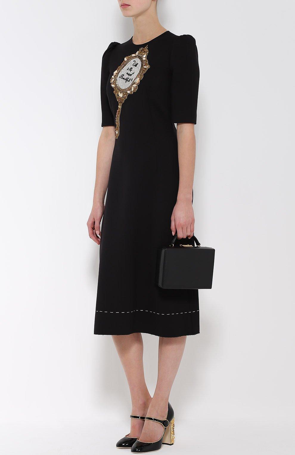 Приталенное платье с рукавом-фонарик и декоративной отделкой   Фото №2