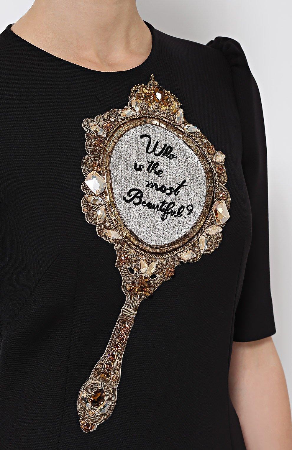 Приталенное платье с рукавом-фонарик и декоративной отделкой   Фото №5