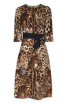 Приталенное платье с коротким рукавом и звериным принтом Dolce & Gabbana коричневое | Фото №1