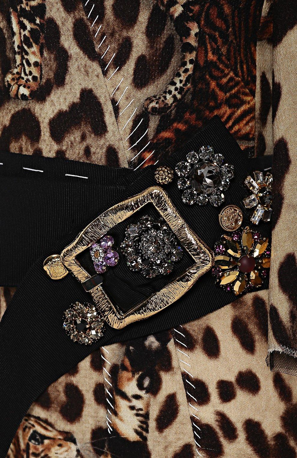 Приталенное платье с коротким рукавом и звериным принтом Dolce & Gabbana коричневое | Фото №5