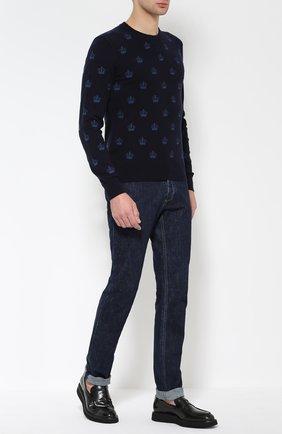 Кашемировый джемпер с круглым вырезом Dolce & Gabbana темно-синий | Фото №2