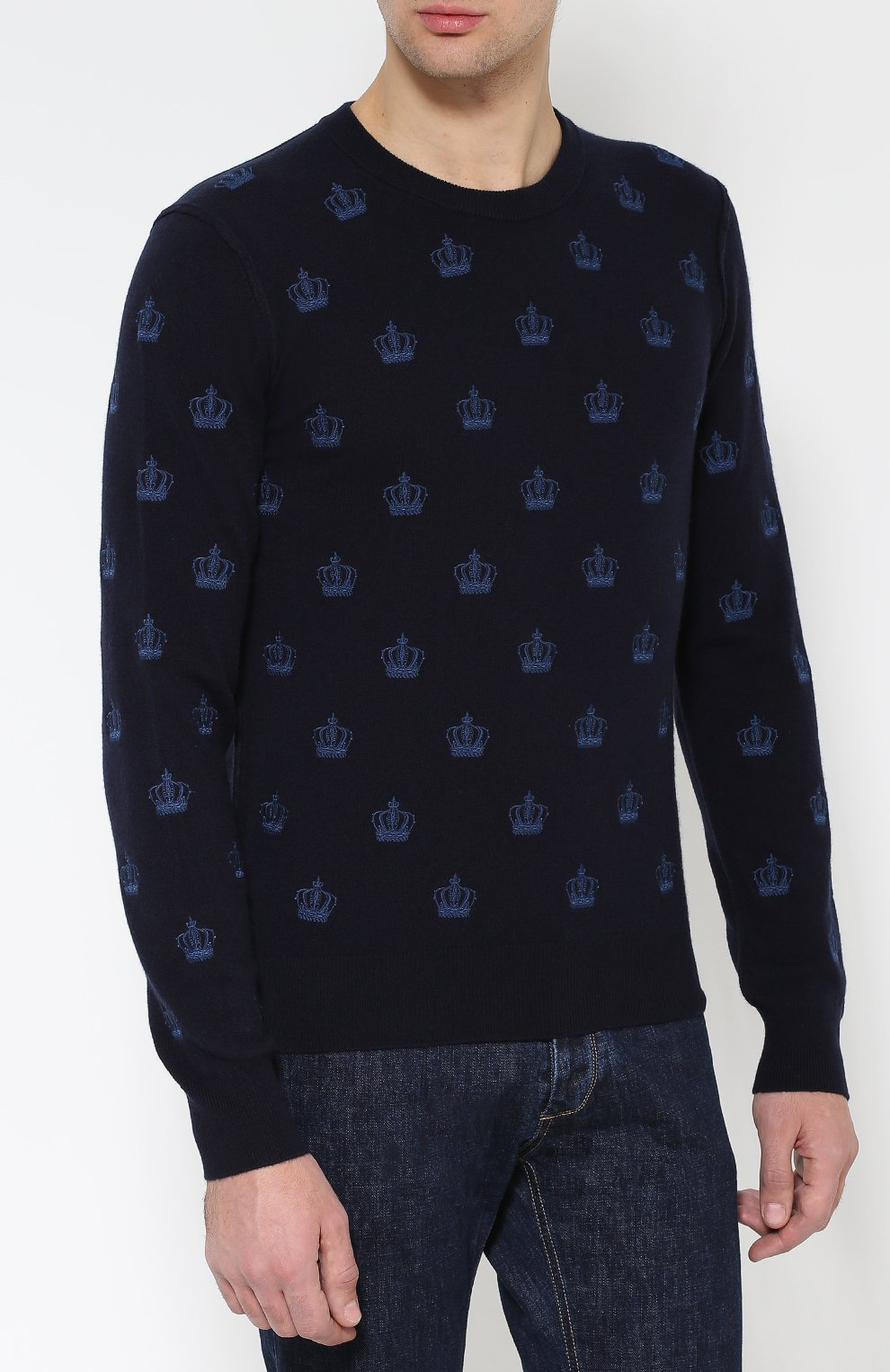 Кашемировый джемпер с круглым вырезом Dolce & Gabbana темно-синий | Фото №3