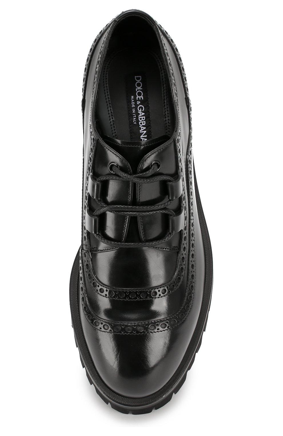 Кожаные броги Cortina на массивной подошве Dolce & Gabbana черные | Фото №6