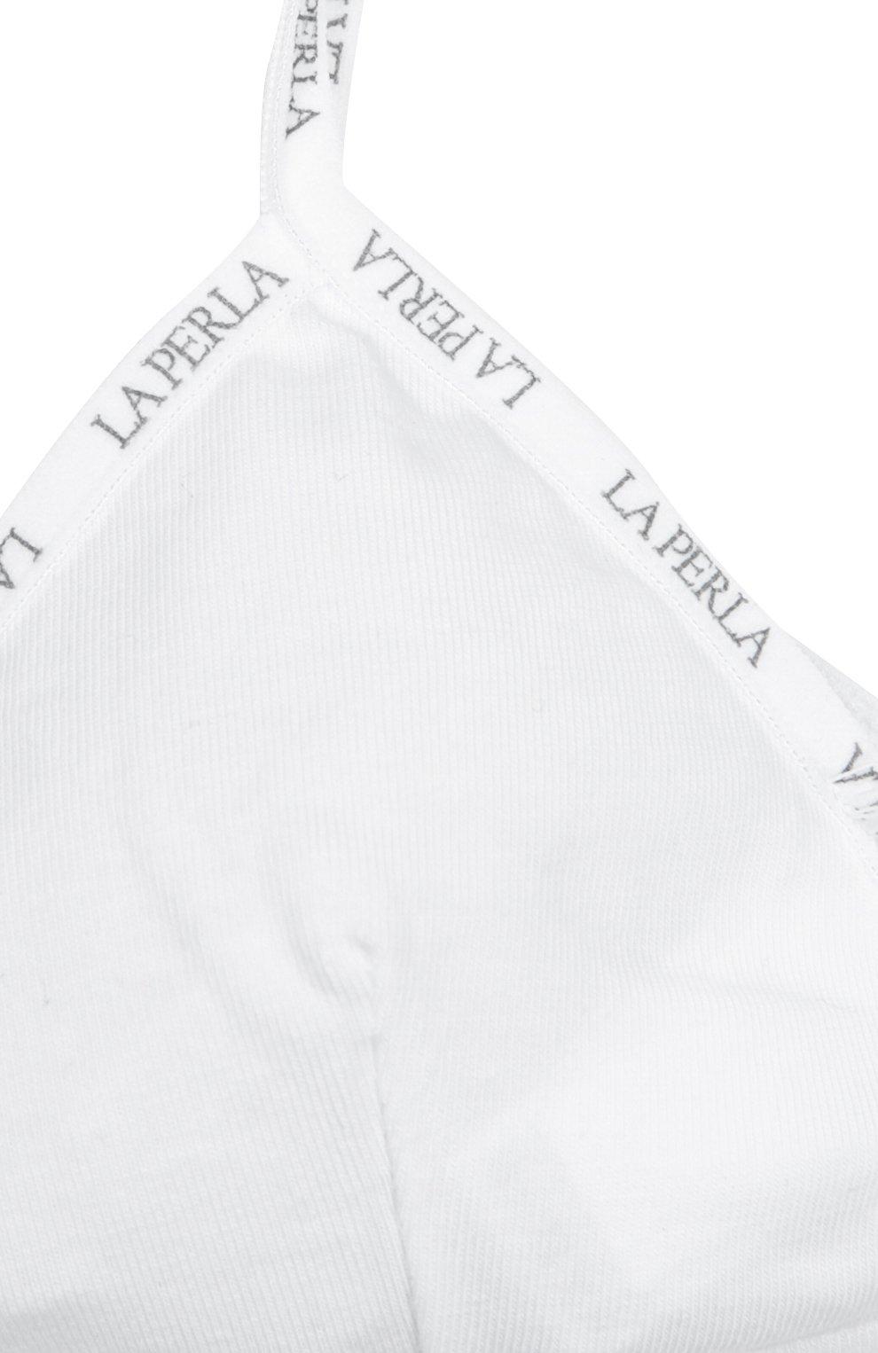 Детский хлопковый бюстгальтер с логотипом бренда LA PERLA белого цвета, арт. 51319/8A-14A | Фото 2