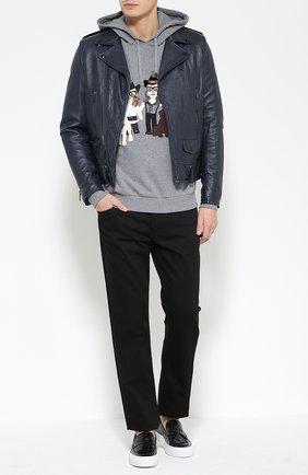 Хлопковая толстовка с аппликацией DG Family и капюшоном Dolce & Gabbana серый | Фото №2