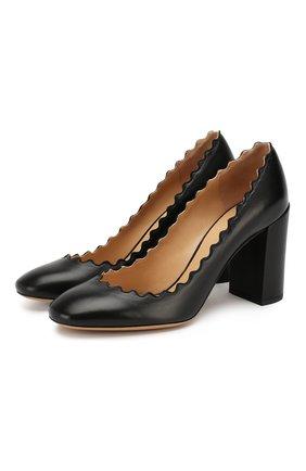 Женская кожаные туфли lauren CHLOÉ черного цвета, арт. CH26231/E75 | Фото 1