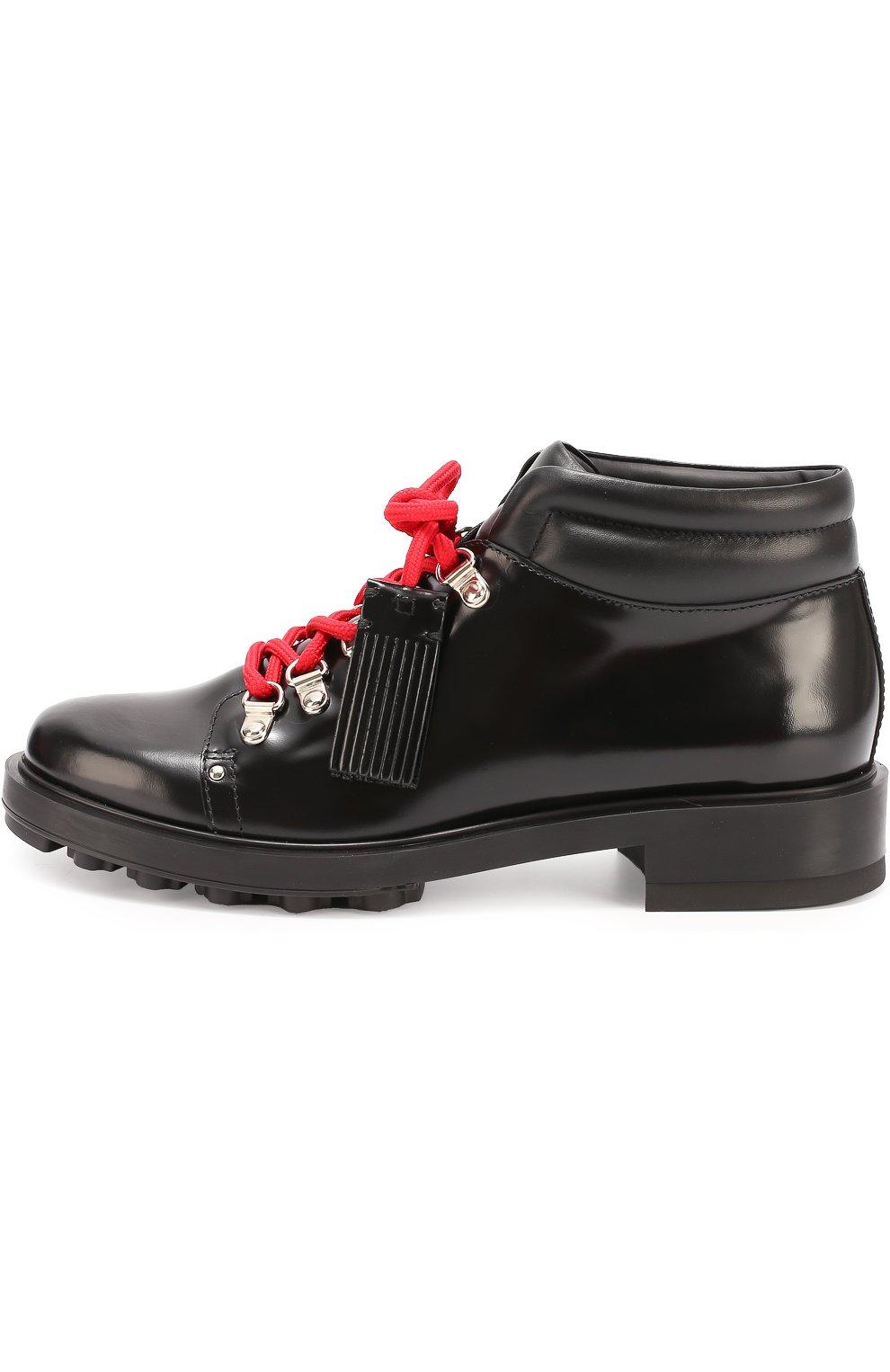 Кожаные ботинки на шнуровке с декором | Фото №1