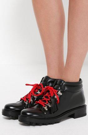 Кожаные ботинки на шнуровке с декором Tod's черные | Фото №2