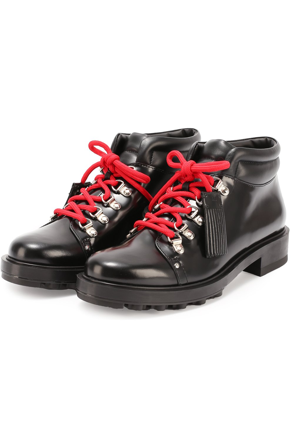 Кожаные ботинки на шнуровке с декором Tod's черные | Фото №4