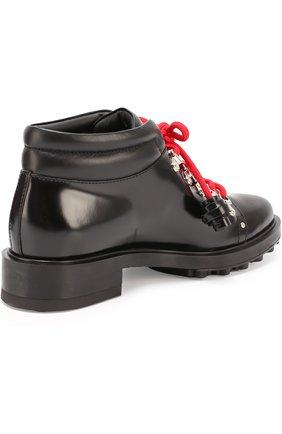 Кожаные ботинки на шнуровке с декором Tod's черные | Фото №5