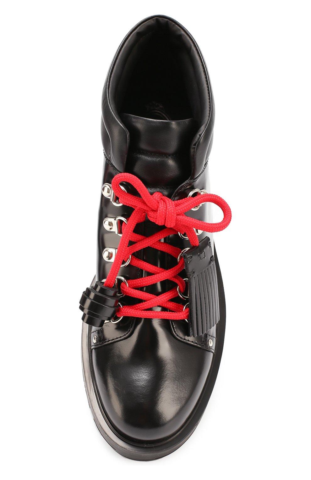 Кожаные ботинки на шнуровке с декором Tod's черные | Фото №6
