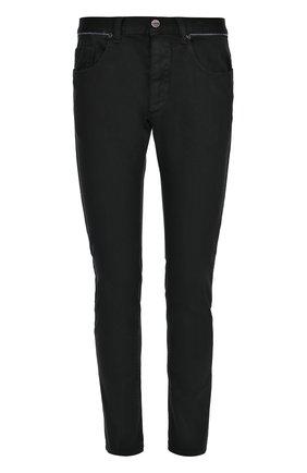Зауженные джинсы с контрастным кантом на поясе | Фото №1
