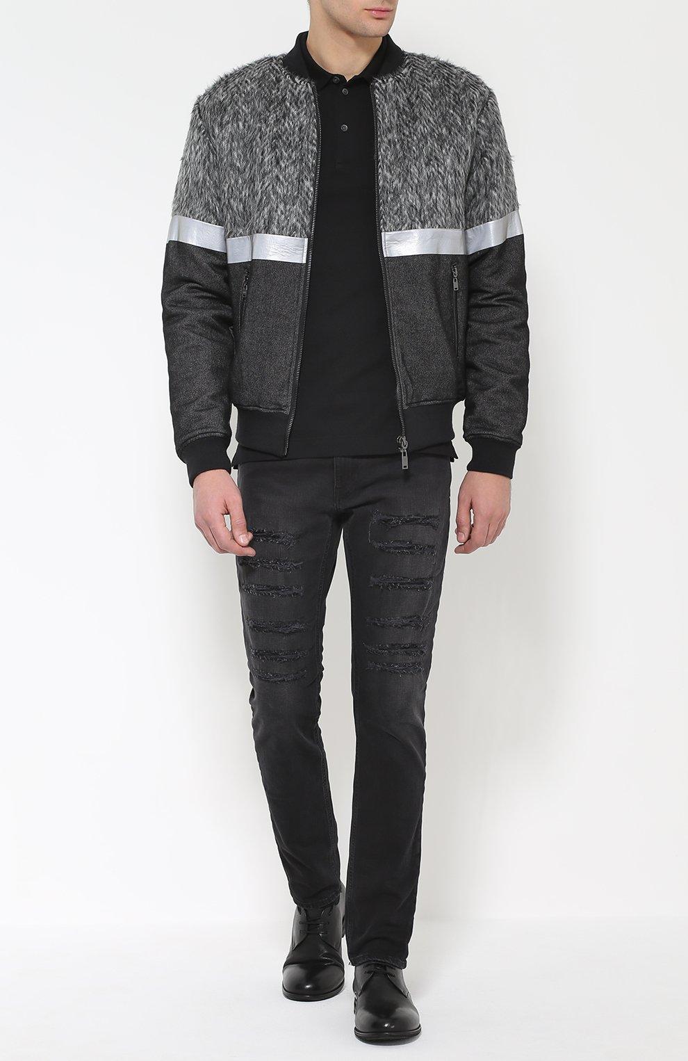 Хлопковое поло с вышивкой Dolce & Gabbana черное | Фото №2