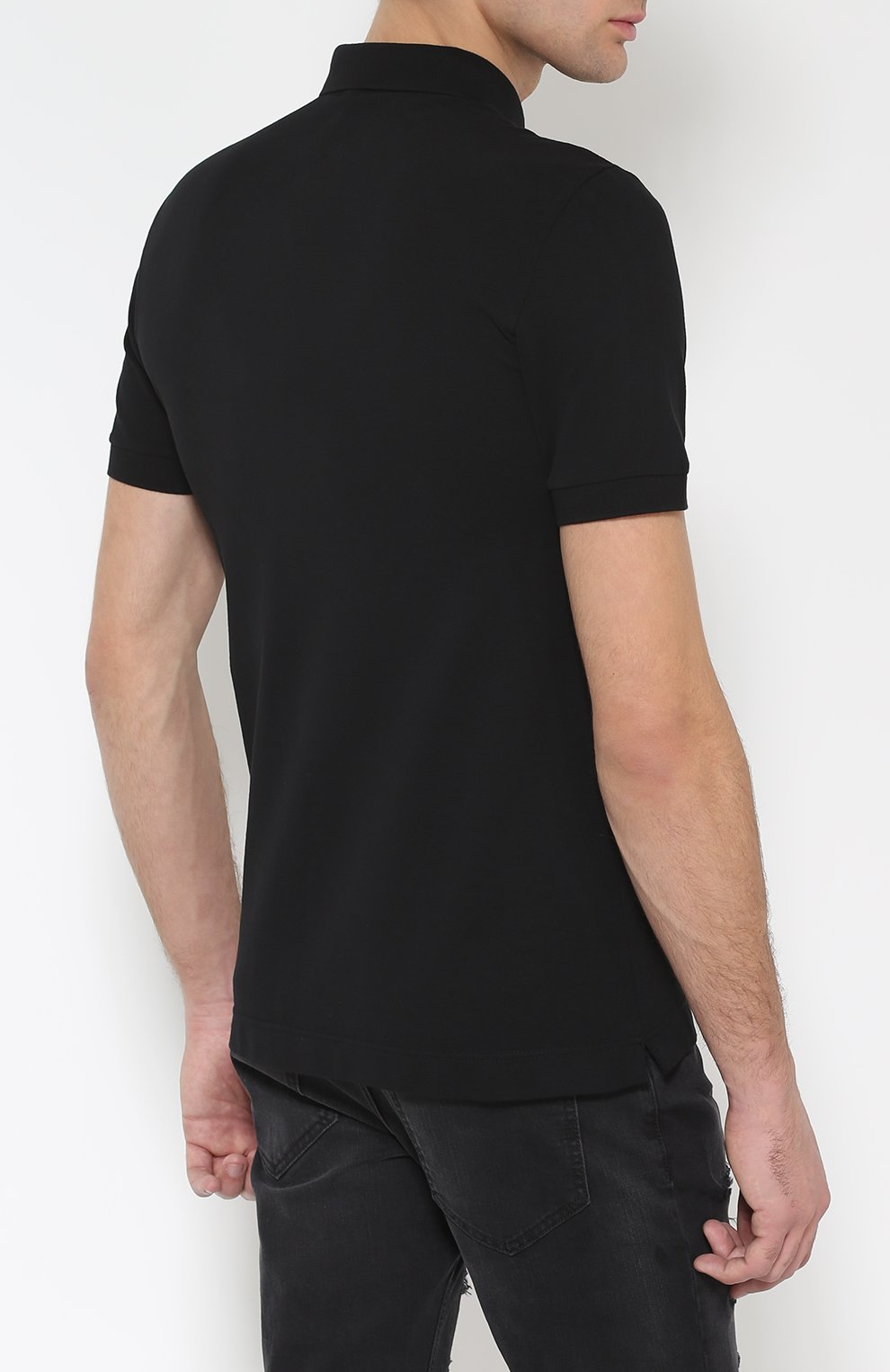 Хлопковое поло с вышивкой Dolce & Gabbana черное | Фото №4