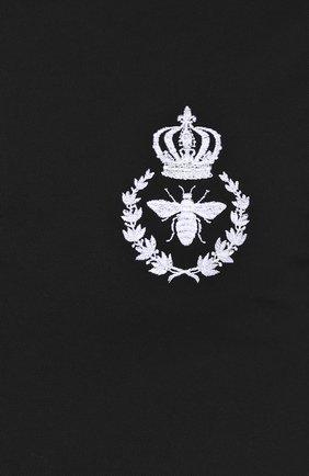 Хлопковое поло с вышивкой Dolce & Gabbana черное | Фото №5