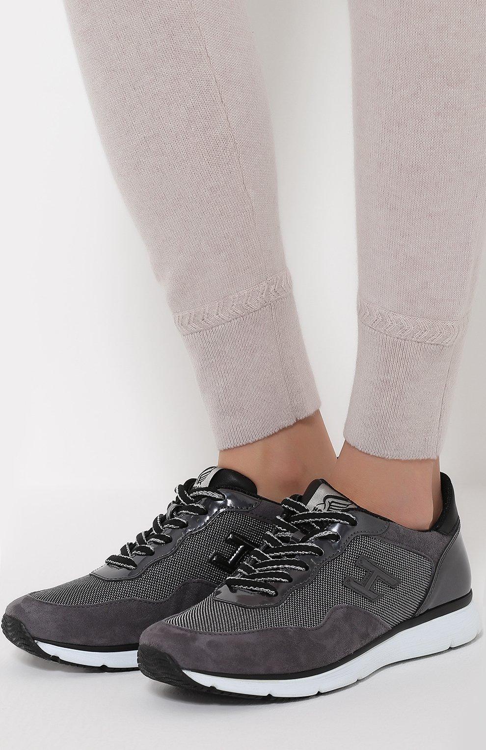 Комбинированные кроссовки с нашивкой Hogan серые   Фото №2