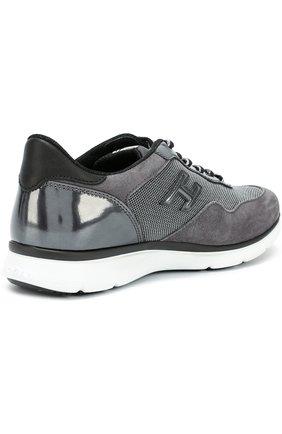 Комбинированные кроссовки с нашивкой Hogan серые   Фото №5