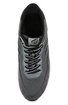Комбинированные кроссовки с нашивкой Hogan серые   Фото №6