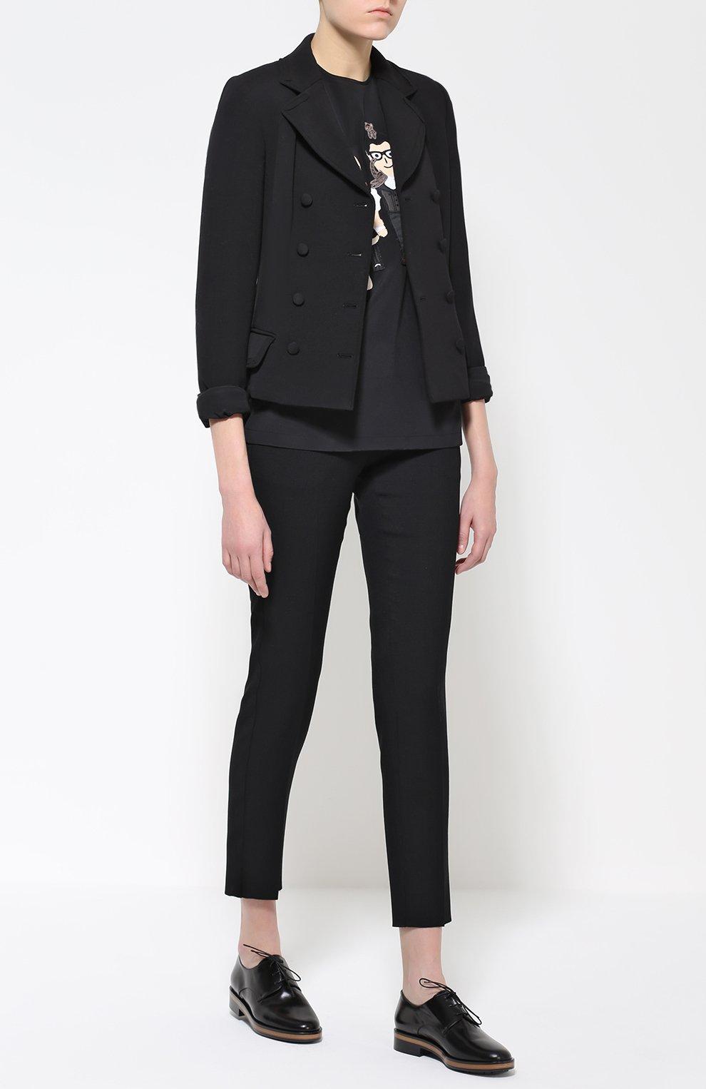 Шелковый топ с коротким рукавом и контрастной отделкой Dolce & Gabbana черный | Фото №2