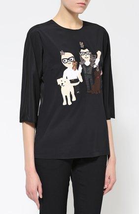 Шелковый топ с коротким рукавом и контрастной отделкой Dolce & Gabbana черный | Фото №3