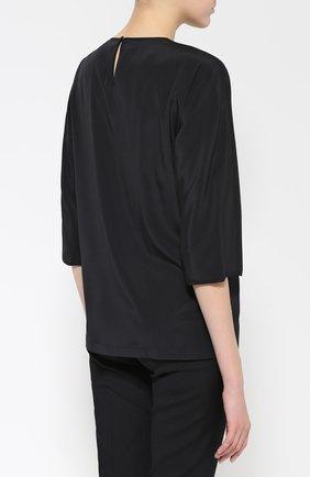 Шелковый топ с коротким рукавом и контрастной отделкой Dolce & Gabbana черный | Фото №4