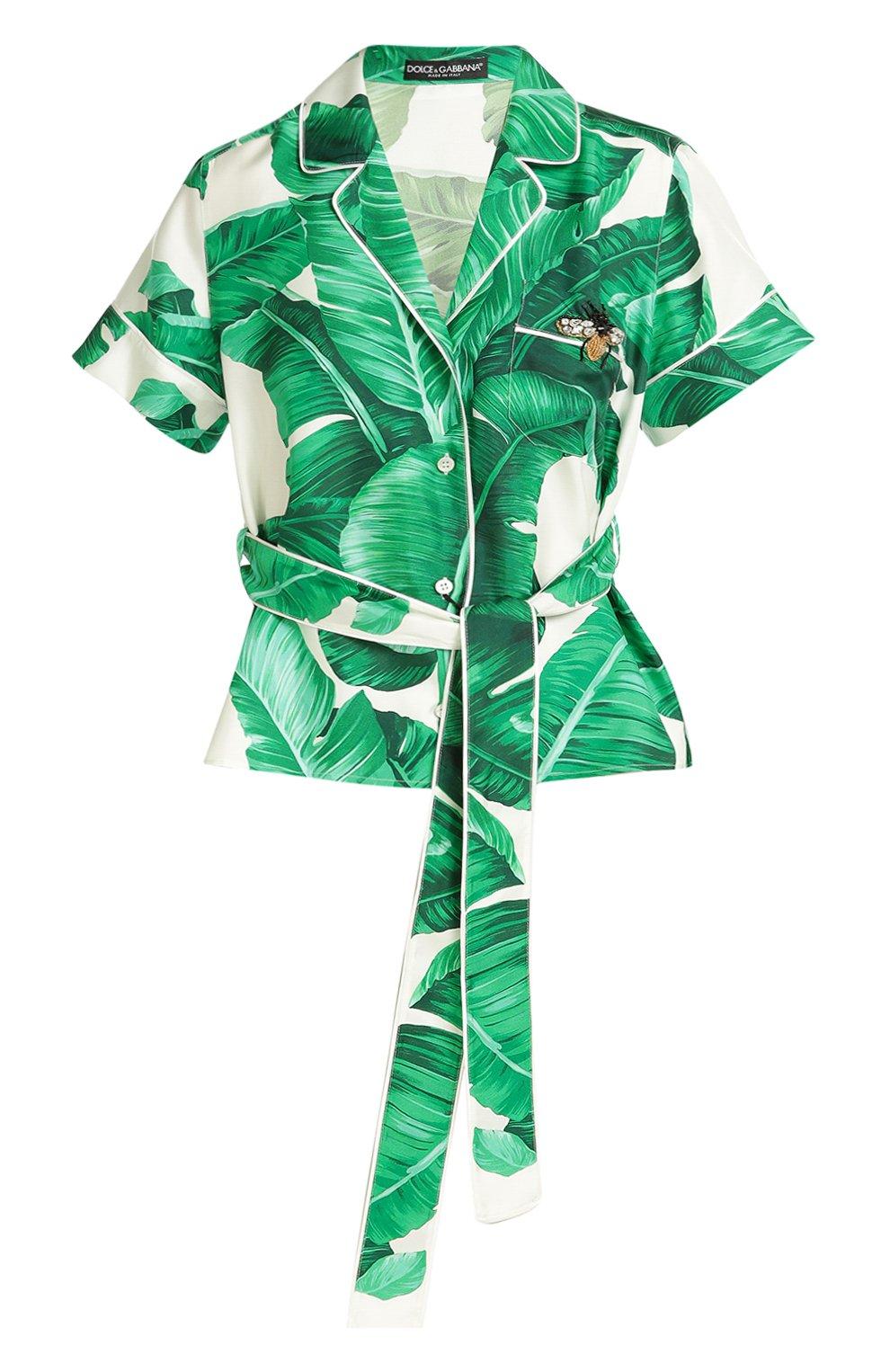 Шелковая блуза в пижамном стиле с коротким рукавом и поясом | Фото №1
