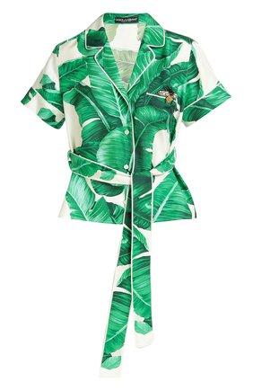 Шелковая блуза в пижамном стиле с коротким рукавом и поясом Dolce & Gabbana зеленая | Фото №1