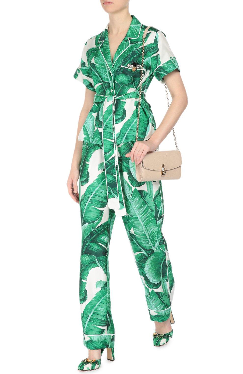 Шелковая блуза в пижамном стиле с коротким рукавом и поясом Dolce & Gabbana зеленая | Фото №2