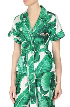 Шелковая блуза в пижамном стиле с коротким рукавом и поясом Dolce & Gabbana зеленая | Фото №3