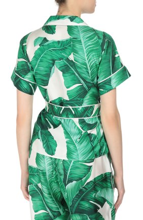 Шелковая блуза в пижамном стиле с коротким рукавом и поясом Dolce & Gabbana зеленая | Фото №4