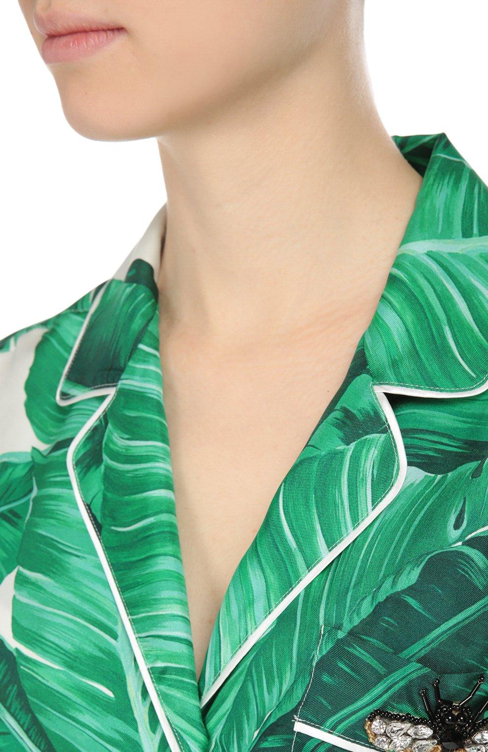 Шелковая блуза в пижамном стиле с коротким рукавом и поясом Dolce & Gabbana зеленая | Фото №5