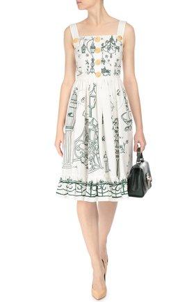 Приталенный сарафан с декоративными пуговицами Dolce & Gabbana белое | Фото №2